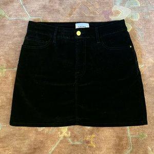 Frame Le Mini Black Velour Mini Skirt